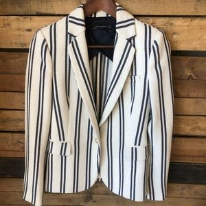 Zara Woman Ivory Navy Striped Blazer